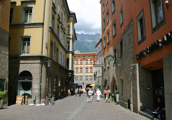 Streets of Altstadt (Old Town) - Innsbruck - up to the clouds hovering along the ridge of the Nordkette Range