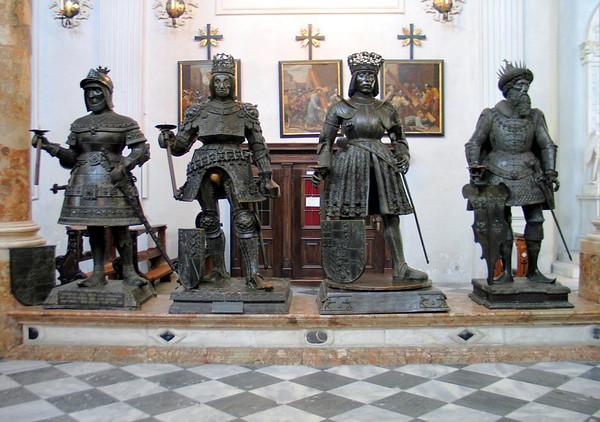 Bronze statues looking upon Maximilian's cenotaph (empty tomb)  - Hofkirche (Court Church) - Innsbruck