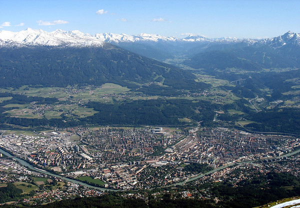 From the Hafelenkarspitz - viewing south across the Inn River - through Innsbruck (the capital city of the federal state of Tyrol, in western Austria) - up the Wipp Valley - past Patscherkof (L) - to the Brenner Pass, at the Italy border - along the snow-capped Alps (which stretch from Austria and Slovenia in the east through Italy, Switzerland, Liechtenstein and Germany to France in the west.