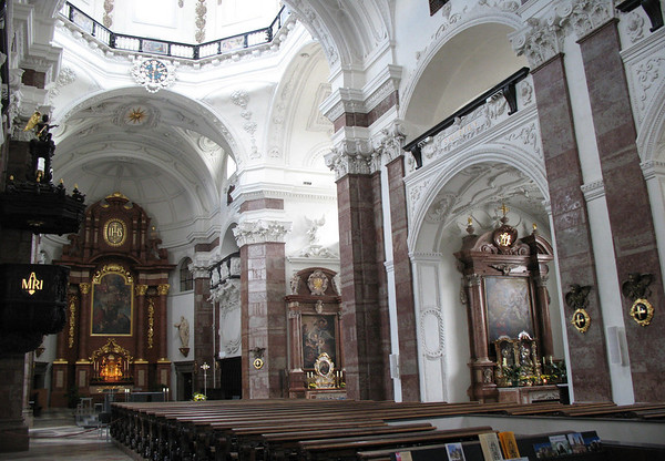 Jesuit Church - down the nave, past the pews and pulpit - beyond the transept, to the high alter - Innsbruck