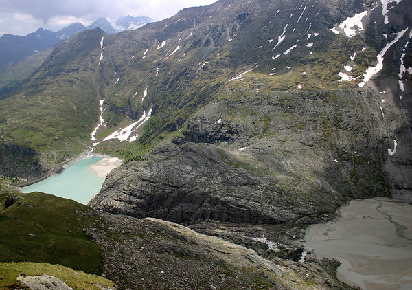 Pasterze Glacier falls - to the Margartizen Stausee (reservoir) - to the stairstep ridge that separates the Austrian states of Tyrol (this side, northwestern) and Carinthia - Hohe Tauern National Park