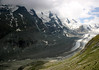 Pasterze Glacier - the longest glacier in Austria, which extends for 5.2 mi. (8.4 m) in length, from the southeastern slope of Johannisberg - to here below the base of Grossglockner (summit in the clouds) - Hohe Tauern National Park