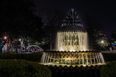 Pineapple Fountain at Night - Charleston, SC, USA