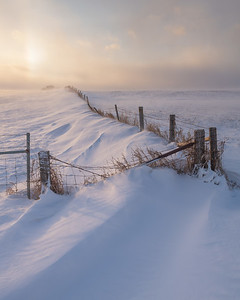 Old Rugged Fence In Drifting Snow