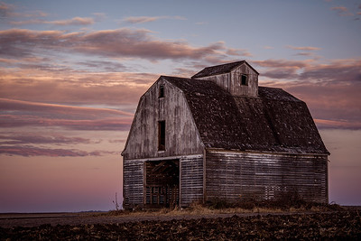 Iowa Corn Crib Under Morning Light