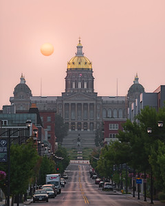Iowa State Capitol Under Smoky Skies