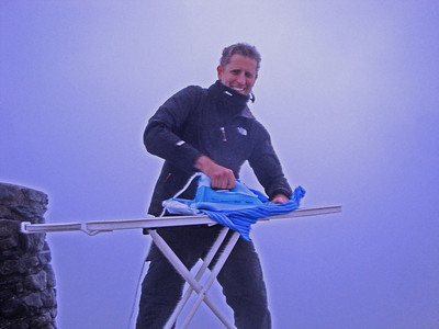 Finally, ironing on the Summit of Mt Snowdon, at 1,085 m the highest point in Wales and England. In gusts so strong Andrew could only stay for seconds on the top of the summit cairn. For the rest of this grand adventure, see here!