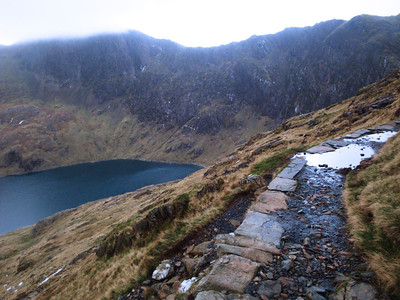 The next day the gales had dropped to 50 mph and the trail to the summit of Mt Snowdon was open!