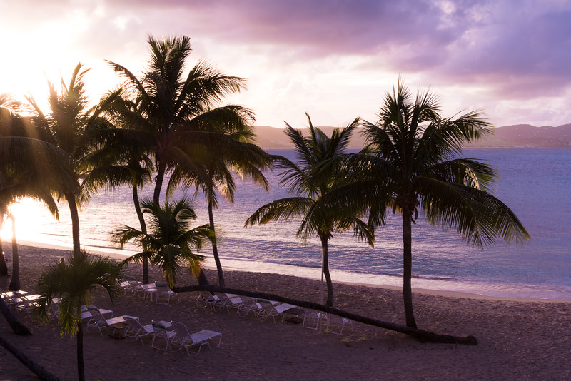Beautiful sunset at beach in St. Croix