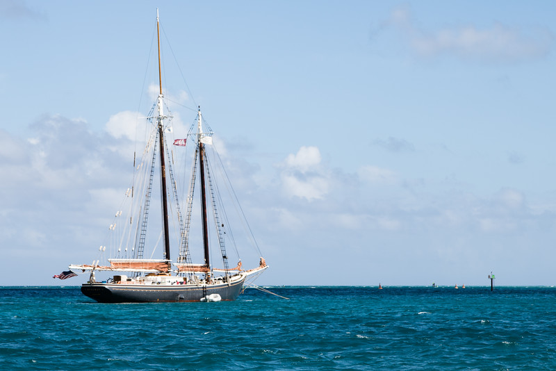 Large sailboat anchored in St. Croix