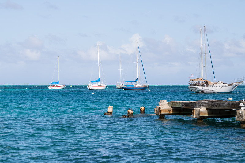 Sailboats anchored in St. Croix