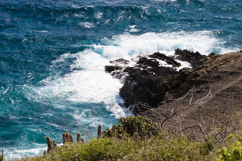High waves breaking against rocks on St. Croix coast