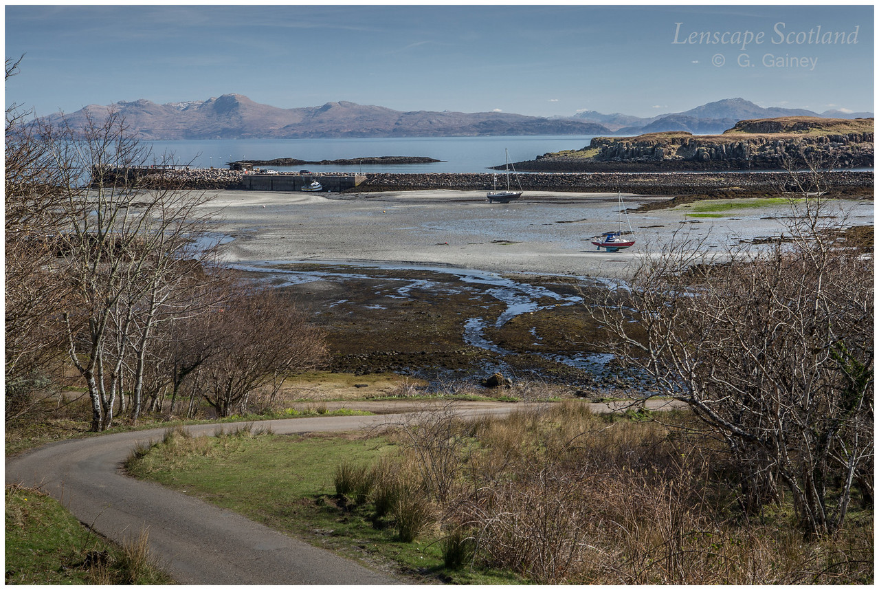 Eigg harbour from the brae