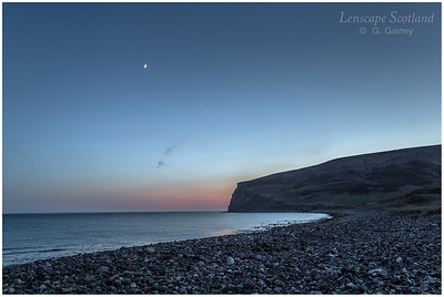 Rackwick Bay at dusk, with moon