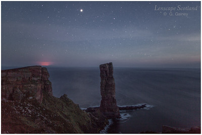 Old Man of Hoy at night, with stars