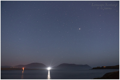 Hoy hills from Ness Point, Stromness, by starlight