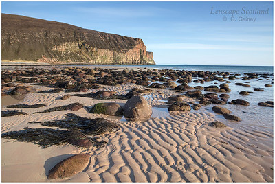 Rackwick Bay, beach and cliffs