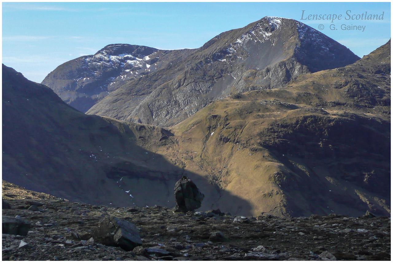 Sgurr nan Gillean and Ainshval from Bealach Bairc-mheall