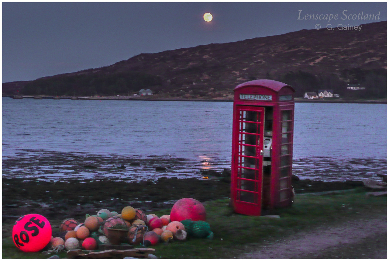 Full moon and phone box, Kinloch