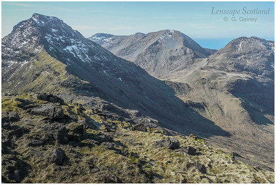 Askival, Trollaval, Ainshval and Sgurr nan Gillean from Hallival