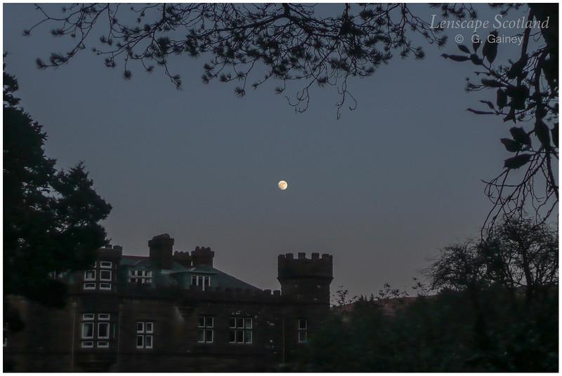 Kinloch Castle with full moon 1