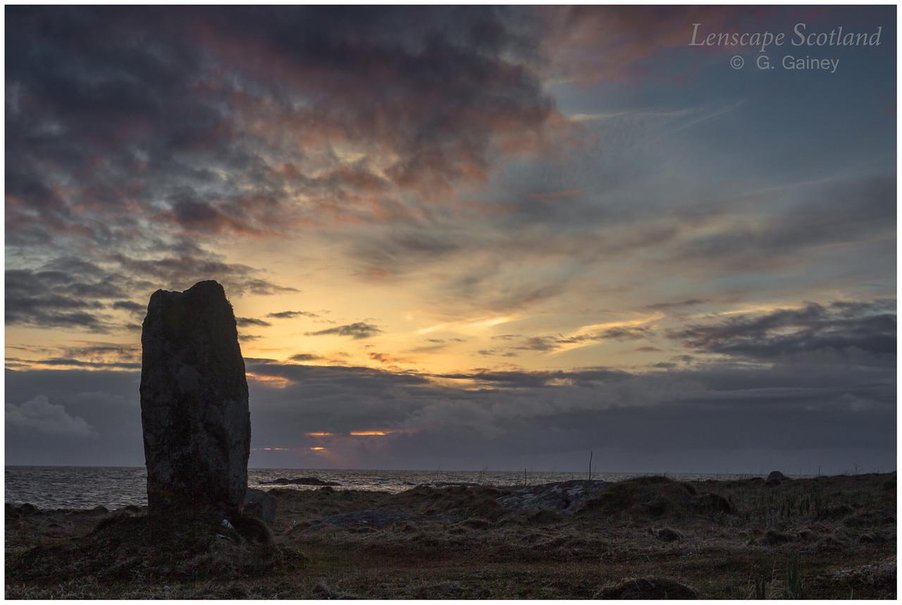 Polochar standing stone, sunset