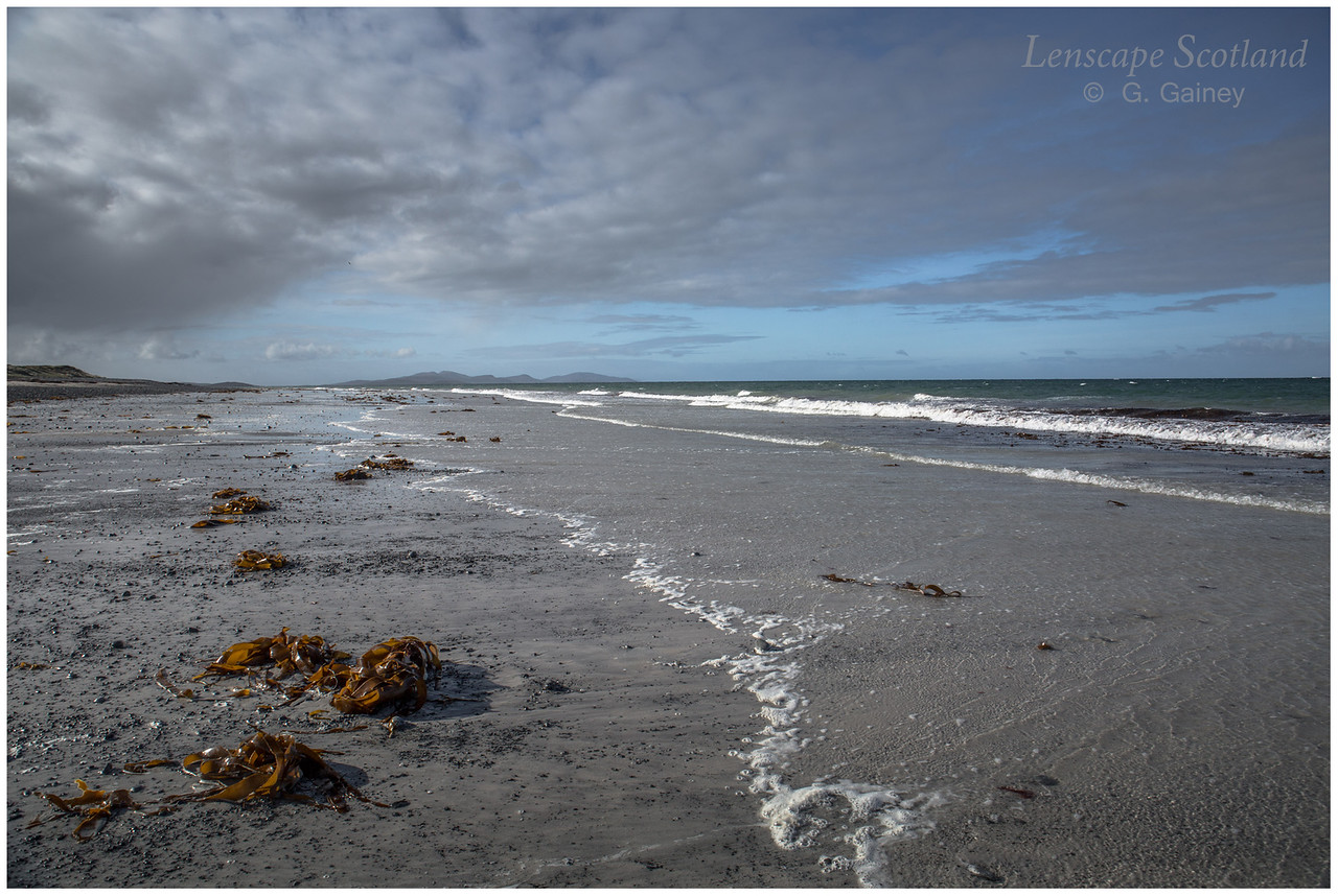 Distant hills of Barra from the beach at Askernish