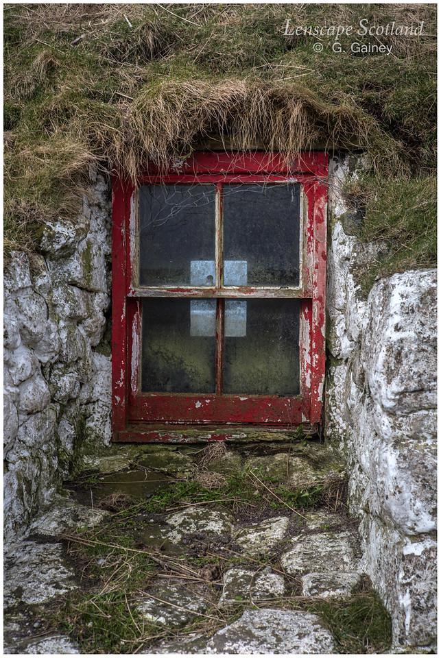 Derelict turf roofed cottage, Sandaig - window detail