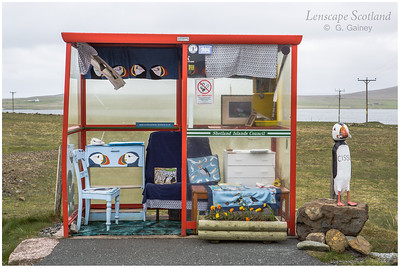 Bus shelter with puffins, Littlehamar road end, Baltasound (Unst)