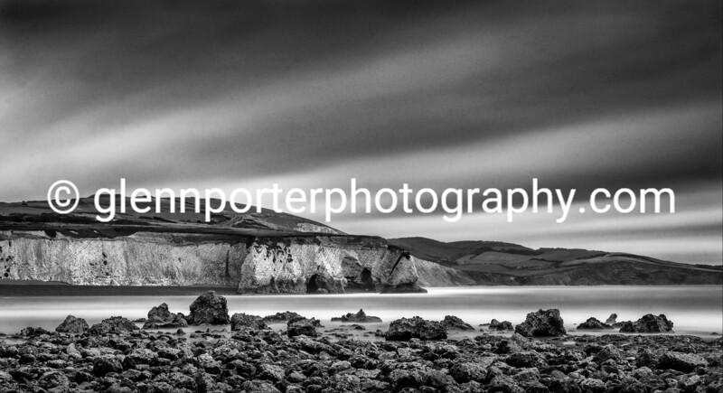 Freshwater Bay  Isle of Wight - monochrome long exposure.