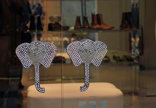 Door handles into Prada (originally started in 1913 as a leather-goods shop) at the Galleria Vittorio Emanuel ll - Milan