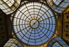 Galleria Vittorio Emanuele II - the two cast-iron and glass-vaulted roofs, meet at an octagonal central piazza below the 154 ft. (47 m) tall and 118 ft. (36 m) diameter glass dome - Milan