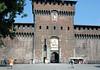 Castello Sforzesco (Sforza Castle) - Filaret Tower - along the fortress wall and the portal into the Piazza d' Armi (Armi Square) - Milan