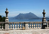 From the garden at Isola Bella (island) - eastward across Lago Maggiore (the regional boundary from here in Piedmont into Lombardia) - to city of Laveno-Mombell - and the Sasso del Ferro (Stone of Iron), the right pointed peak - and the Monte Nudo (Naked Mountain), directly beyond