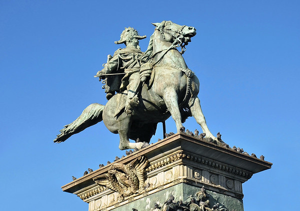 Equestrian statue of Vittorio Emanuele II - first king of a united Italy, serving from 1861-1878 - Milan