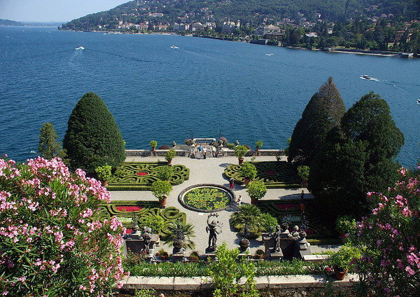 Garden on the Isola Bella (island) - viewing southward across Lake Maggiore, to the city of Stresa