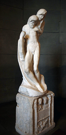 Pietà Rondanini (the Virgin Mary mourning over the body of the dead Christ) - the last (1564) sculpted masterpiece of Michelangelo Buonarroti - at the Museo d'Arte Antica (Museum of Ancient Art) - in the Castello Sforzesco (Sforza Castle)