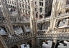 Through the flying buttresses and spires of the Milan Cathedral