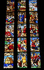 Biblical scenes on the hand-painted glass of the Milan Cathedral
