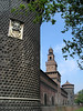 Torre di Carmini (foreground tower) and Torre di Santo Spirito - with the Filaret Tower, standing 231 ft. (70 m) tall in between, all forming the southeast wall of the Castello Sforzesco (Sforza Castle)