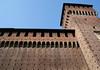 Up the 14th century brick fortress wall and Torre di Bona (tower) - Castello Sforzesco (Sforza Castle)