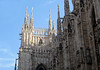 Gargoles, statues, and spires of the Milan Cathedral