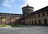Piazza d'Armi (square) inside the Castello Sforzesco (Sforza Castle) - viewing at the Torre d' Carmini (the southern tower)
