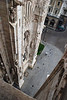 Down the marble walls of the Milan Cathedral