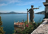 Garden on the Isola Bella (island) - viewing southeastern to the city of Stresa (R) in the Italian region of Piedmont - and across Lake Maggio eastward to the small village of Quicchio in the region of Lombardia.