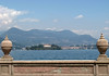 From Isola Bella (island) - viewing northward across Lake Maggiore to Isola Madre (the largest of the Borromean Islands  , to the city of Verbania along the shoreline - with the Monterosso (the dome-topped hill, behind the city).