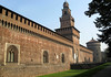 """Castello Sforzesco (Sforza Castle), 15th century construction - Torre del Filaret (tower)Tower, standing 231 ft. (70 m) tall, with the Torre di Santo Spirito, along the far end of the fortress wall -  The castle was named after Francesco Sforza (1401-1466) who was an Italian condottiero (mercenary soldier leader, or warlord), who married the daughter of Flippo Visconti, and was the founder of the Sforza dynasty in Milan. Francesco transformed this site into a ducal residence in 1450, when he became Duke of Milan. But its origins date back to the second half of the 14th century, at the time of Galeazzo II Visconti (1320-1378) Ruler of Milan, founder of the Univ. of Pavia, gifted diplomat, and infamous for instituting the """"quaresima"""" (execution on the wheel of state offenders, which lasted 40 days) - Milan"""