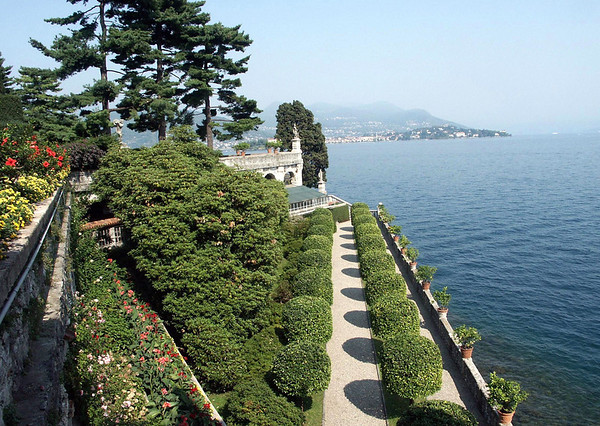 From the garden at Isola Bella (island) - northeast across Lake Maggiore - to the shoreline city of Verbania