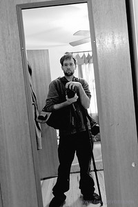 I knew this would be a big trip for me, and I would come back a changed man.  I wanted a remember-me-when shot to start the trip.  This is the mirror in my bedroom... in the house that I'm renting now.  ... Look at my seemingly-absurd amount of camera gear.