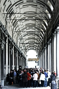 This is what the line looks like outside of the Uffizi Gallery (regarded as the best Renaissance art gallery in Italy).  That's about what it looks like inside too.